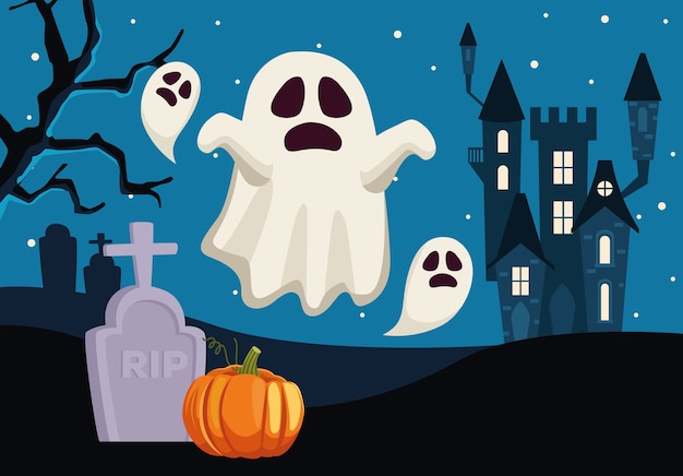 Tarjeta de feliz halloween con fantasmas flotando en el cementerio