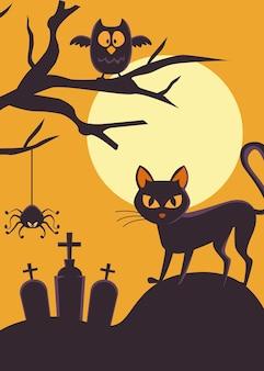 Tarjeta de feliz halloween con gato negro y búho en cementerio