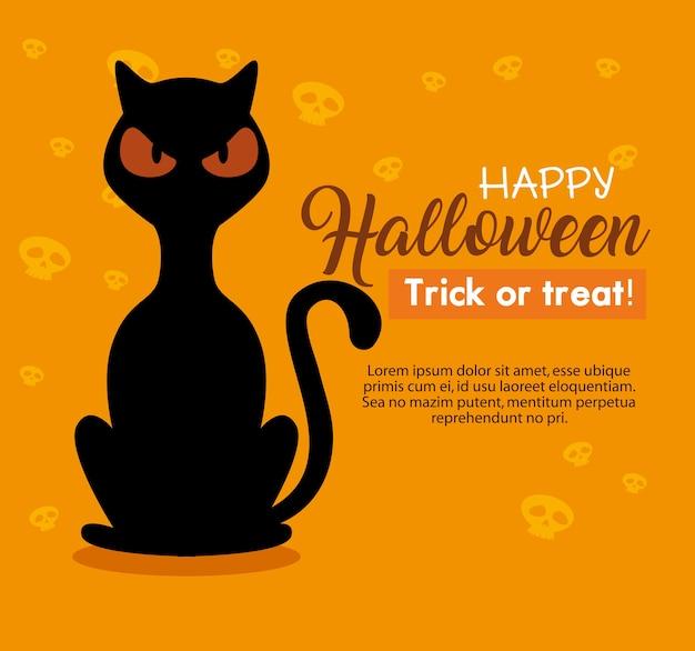 Tarjeta de feliz halloween con gato negro sobre fondo naranja