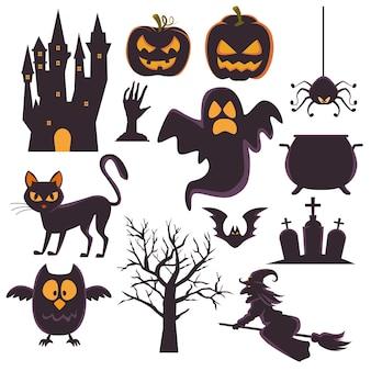 Tarjeta de feliz halloween con iconos de conjunto de paquete