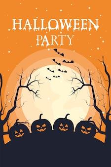 Tarjeta de feliz halloween con letras y diseño de ilustración de vector de escena de calabazas