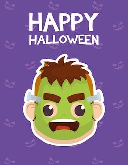 Tarjeta de feliz halloween con letras y niño disfrazado de diseño de ilustración de vector de frankenstein