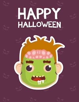 Tarjeta de feliz halloween con letras y niño disfrazado de diseño de ilustración de vector de zombie