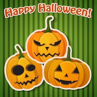 Tarjeta de feliz halloween líneas con tres calabazas diferentes.