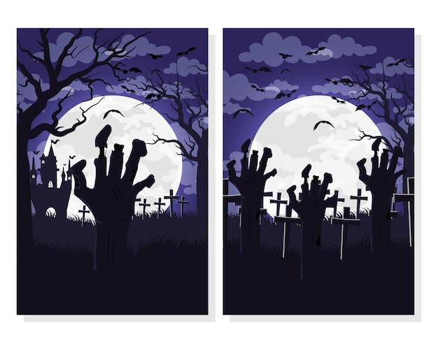 Tarjeta de feliz halloween con manos muerte en escenas de cementerio, diseño de ilustraciones vectoriales
