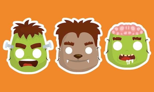 Tarjeta de feliz halloween con máscaras de disfraces, diseño de ilustraciones vectoriales