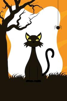 Tarjeta de feliz halloween con mascota gato negro y diseño de ilustración de vector de escena de araña