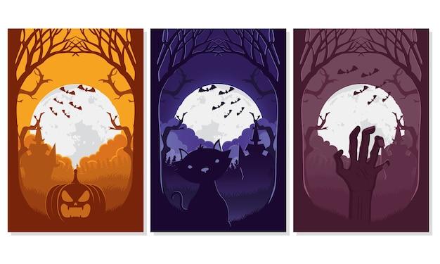 Tarjeta de feliz halloween con tres escenas, diseño de ilustraciones vectoriales