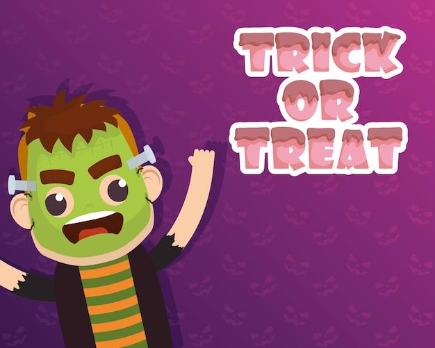 Tarjeta de feliz halloween truco de letras de regalo y diseño de ilustración de vector de personaje de frankenstein