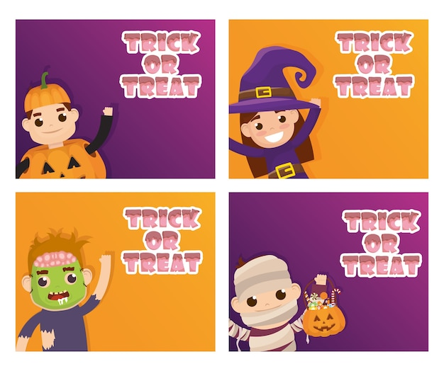 Tarjeta de feliz halloween truco de letras de regalo y niños disfrazados, diseño de ilustraciones vectoriales