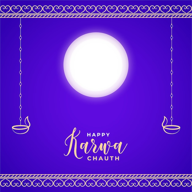 Tarjeta feliz karwa chauth con festival tradicional de luna y diya