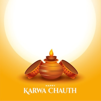 Tarjeta feliz karwa chauth con kalash y tamiz