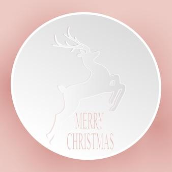 Tarjeta de feliz navidad abstracta con abeto en un círculo
