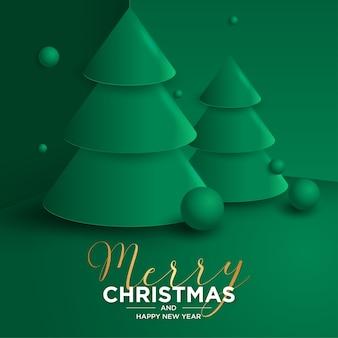 Tarjeta de feliz navidad y año nuevo 3d con árbol de navidad 3d realista