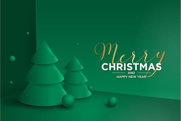 Tarjeta de feliz navidad y año nuevo 3d con árbol de navidad