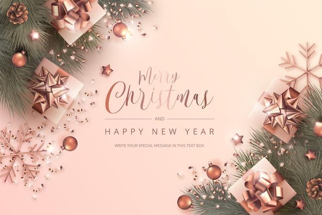 Tarjeta de feliz navidad y año nuevo con adornos realistas en rosa dorada
