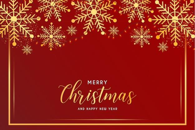 Tarjeta de feliz navidad y año nuevo con copos de nieve y plantilla de marco dorado