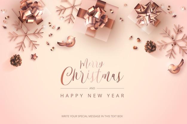 Tarjeta de feliz navidad y año nuevo con decoración de rosa dorada