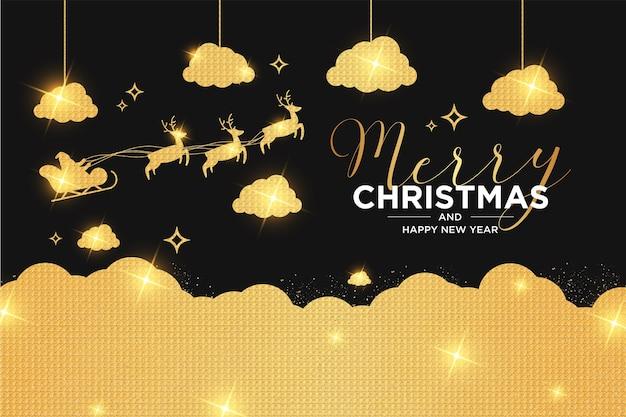 Tarjeta de feliz navidad y año nuevo con diseño navideño de lujo