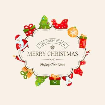 Tarjeta de feliz navidad y año nuevo con inscripción caligráfica en marco elegante