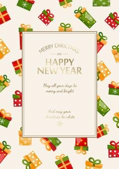 Tarjeta de feliz navidad y año nuevo con inscripción dorada en marco rectangular y coloridas cajas de regalo