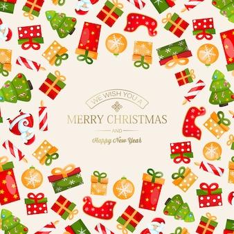 Tarjeta de feliz navidad y año nuevo con inscripción de saludo ligero y símbolos tradicionales brillantes coloridos ilustración vectorial