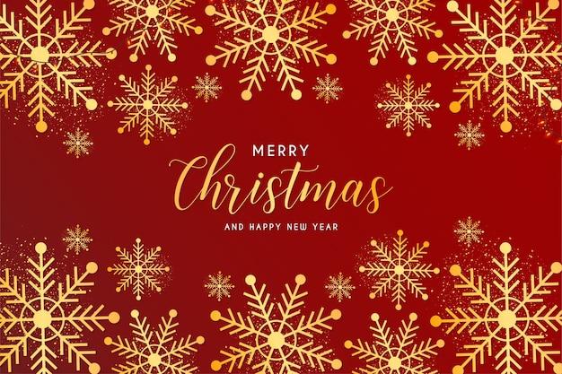 Tarjeta de feliz navidad y año nuevo con marco dorado de copos de nieve