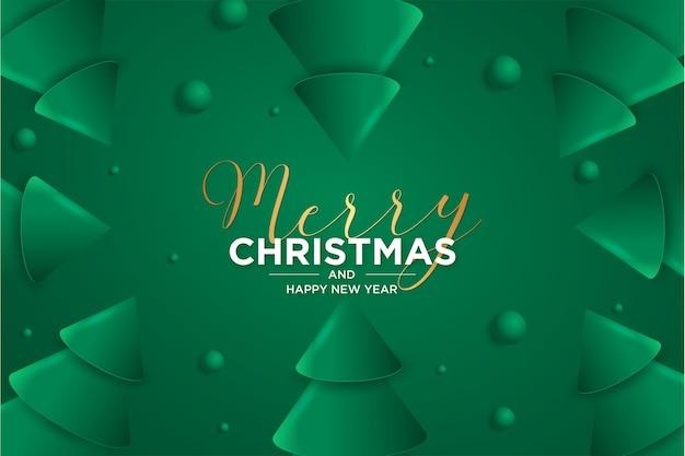 Tarjeta de feliz navidad y año nuevo tarjeta 3d con árbol de navidad