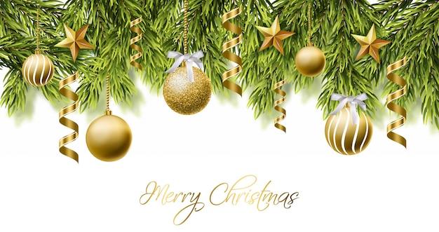 Tarjeta de feliz navidad blanca con bolas de purpurina dorada.