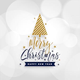 Tarjeta de feliz navidad blanca con diseño de árbol