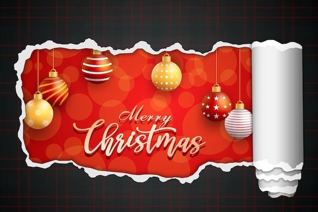 Tarjeta de feliz navidad con bola en rojo