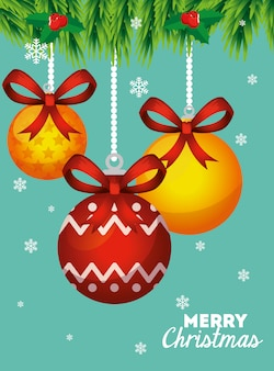 Tarjeta de feliz navidad con bolas decorativas colgantes