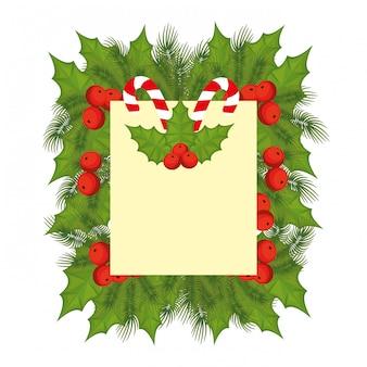 Tarjeta de feliz navidad con bown y bolas