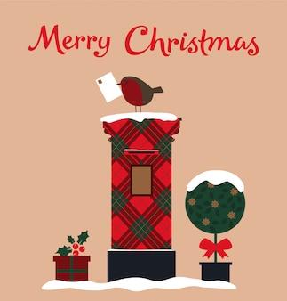 Tarjeta de feliz navidad con buzón, árbol y robin.