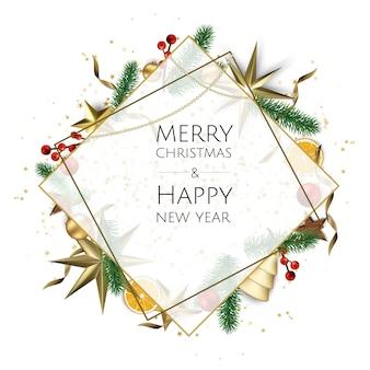 Tarjeta de feliz navidad con caja de regalo, copos de nieve y bolas
