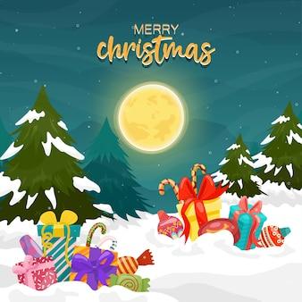 Tarjeta de feliz navidad con caja de regalo y pino en la luna y la montaña