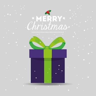 Tarjeta de feliz navidad con caja de regalo