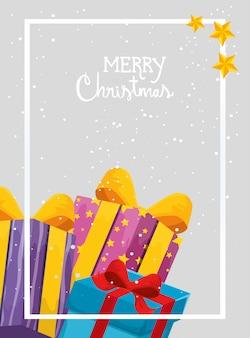 Tarjeta de feliz navidad con cajas de regalo