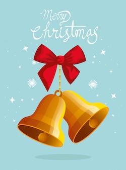 Tarjeta de feliz navidad con campanas y lazo de cinta