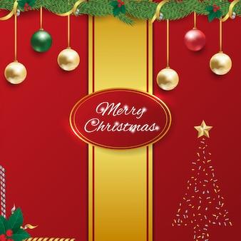 Tarjeta de feliz navidad celebración cuadrado rojo