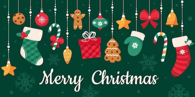 Tarjeta de feliz navidad. colección de adornos navideños.