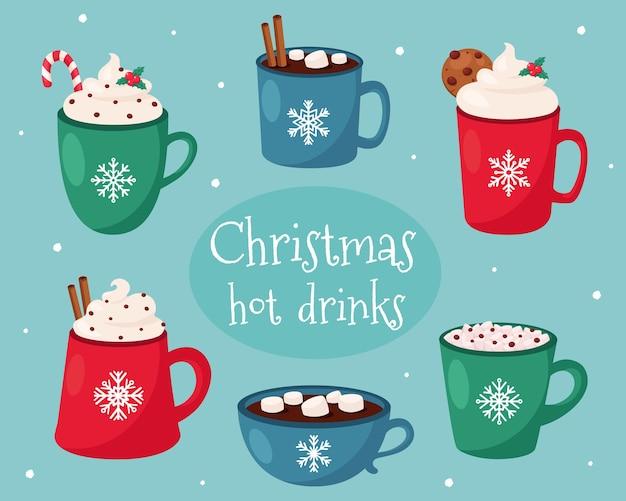Tarjeta de feliz navidad. colección de bebidas calientes navideñas.