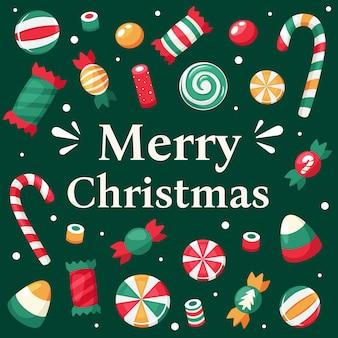 Tarjeta de feliz navidad. colección de dulces y caramelos navideños.