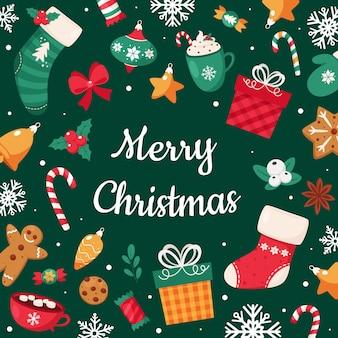 Tarjeta de feliz navidad. colección de elementos navideños.