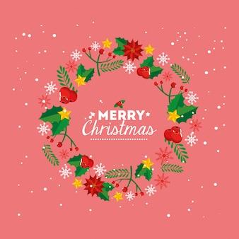 Tarjeta de feliz navidad con corona de decoracion