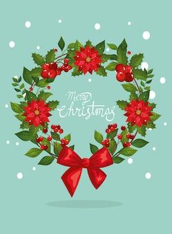Tarjeta de feliz navidad con corona de hojas decorativas