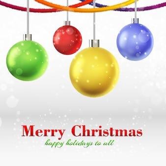 Tarjeta de feliz navidad con cuatro bolas ornamentadas brillantes colgando de cintas