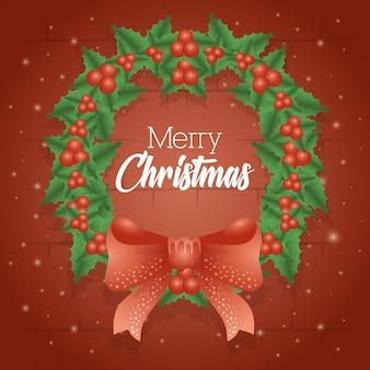 Tarjeta de feliz navidad con decoración de corona y lazo