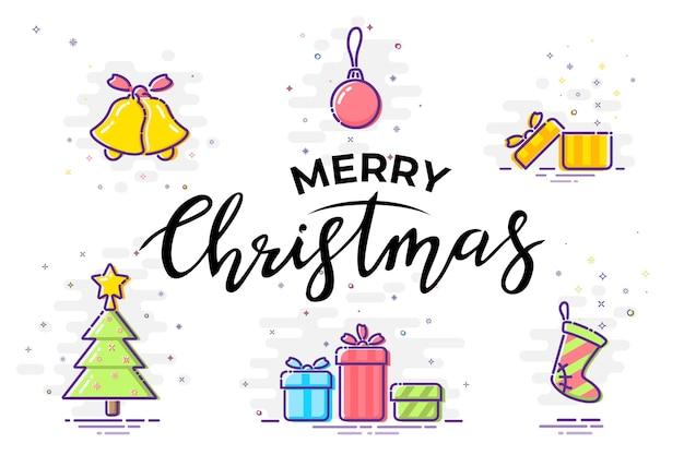 Tarjeta de feliz navidad con elementos navideños