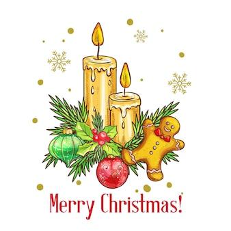 Tarjeta de feliz navidad en estilo boceto